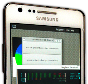 Samsung Galaxy S II (i9100) running postmarketOS